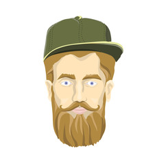 Nice-looking man with a beard and mustache wearing green cap on white background. Lumberjack stares at you. Head image. Isolated vector illustration. Flat style.