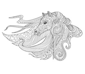 Horse head page for adult coloring book. Animal hand drawn doodle vector illustration.
