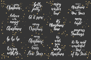 Christmas lettering set. Handwritten modern calligraphy, brush painted letters. Christmas greeting quotes. Happy New Year. Text for poster, banner, flyer, brochure, web, advertising