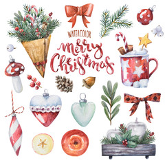 Bright watercolor Merry Christmas set of traditional decor and elements. Spices, decoration, cookies, cocoa, gifts and plants. Elements of a Christmas mood on a white background.