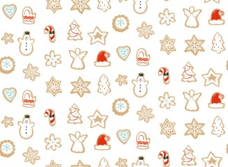 Hand drawn vector abstract fun Merry Christmas time cartoon illustration seamless pattern with baked gingerbreads cookies isolated on white background