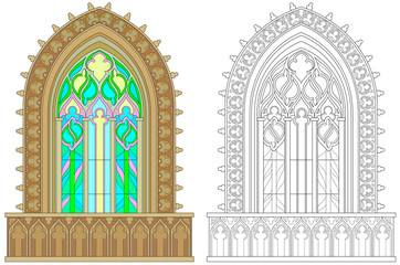 Colorful and black and white pattern for coloring. Fantasy Gothic stained glass window. Worksheet for children and adults. Vector image.