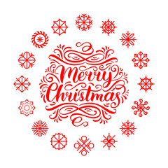 Vector Merry Christmas lettering with New Year snowflakes. Happy Holidays typography for greeting card template.
