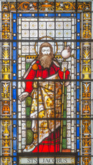 LONDON, GREAT BRITAIN - SEPTEMBER 20, 2017: The St. Jacob the Apostle on the stained glass in church St. Pancras from 19. cent.