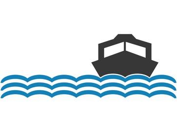 Motorboot Symbol mit Wellen und Textfreiraum