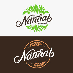 Set of Natural hand written lettering logo, emblem with leaves and ears of wheat.