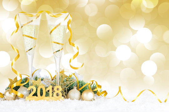 New Year Celebration with Champagne Glasses 2018