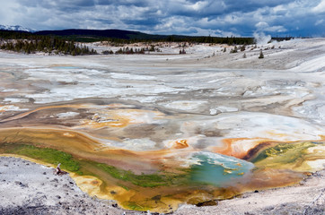 Porcelain Basin in Yellowstone national park, USA.