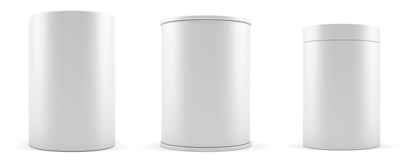Set of empty white realistic cylinders