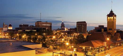 Springfield panorama with old and new State Capitol Buildings