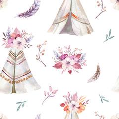 Ręcznie rysowane akwarela tribal tipi wzór, Boho America tradycyjne rodzime ornament wigwam wzory. Herbata indyjska z dekoracją czeską ze strzałkami i piórami. - 180862138