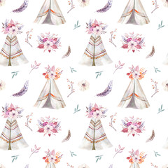 Hand drawn watercolor tribal teepee seamless pattern, Boho America traditional native ornament wigwam patterns. Indian bohemian decoration tee-pee with arrows and feathers.