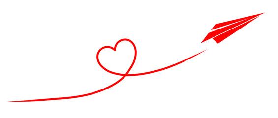 Papierflugzeug fliegt ein Kondesstreifen-Herz / Vektor, rot, freigestellt