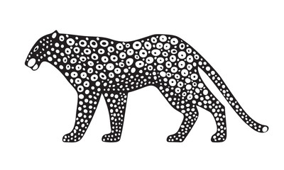 Decorative stylized jaguar wildcat. Vector animal illustration. Isolated on white background.