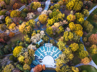 Aerial view of Central park theater in autumn