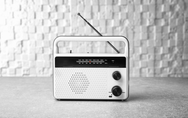 Retro radio on light background
