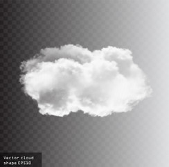 White vector cloud isolated over transparent background