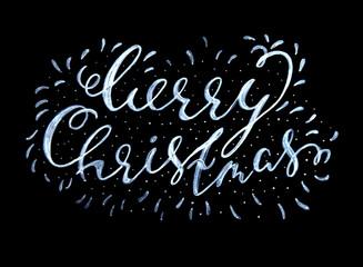 Merry Christmas textured handwritten calligraphic inscription on a black background. Design element for banner, card, invitation, label, postcard, template, vignette etc. Vector illustration