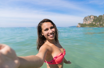 Attractive Young Caucasian Woman In Swimsuit On Beach Taking Selfie Photo, Girl Blue Sea Water Holiday Summer Vacation