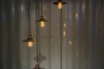 Retro style hung bulb lamp,