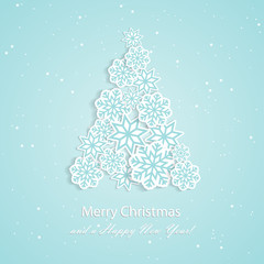 Paper snowflakes in shape of xmas tree. Volumetric paper art background with shadow. New year and Christmas design