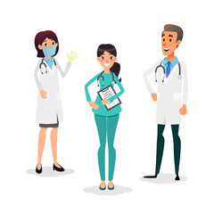 Doctors and nurses team. Cartoon medical staff. Medical team concept. Surgeon, nurse and therapist on hospital. Professional health workers