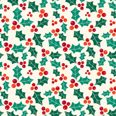 Seamless vector pattern with Christmas symbol holly berries.