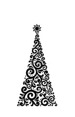 black christms tree on a white background