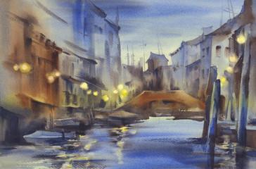 Venice nocturne watercolor