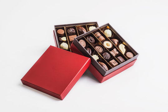 Box of chocolate pralines red ready for a exquisite gift