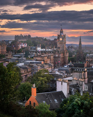 View of Edinburgh from Calton Hill at Sunset, Scotland, United Kingdom