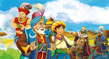 Cartoon scene with prince or magician looking at travelers on camels in the background - sorcerer is flying over the city - illustration for children
