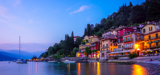 Panorama Varenna at night, Lake Como Italy