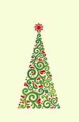 elegant Christmas tree with floral pattern