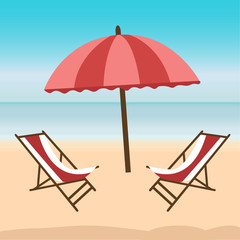 Sea side and beach icon. Summer holiday illustration in flat design.