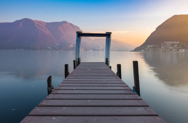 Sunset at Lake Lugano