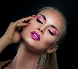 Rosa Make-up - Gesicht - Nahaufnahme - Beauty
