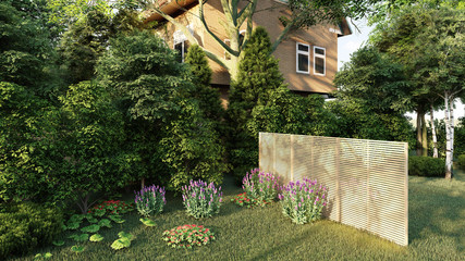 garden of english house 3d rendering