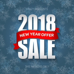 New Year 2018 sale badge, label, promo banner template. Special offer