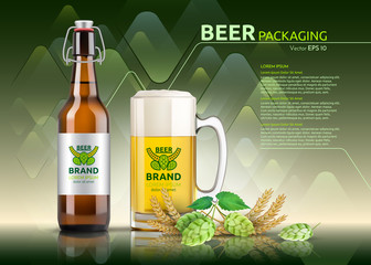 Vector Realistic beer bottle and glass. Brand packaging template. Logo designs. Green backgrounds
