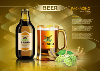 Vector Realistic beer bottle and glass. Brand packaging template. Logo designs. Gold backgrounds
