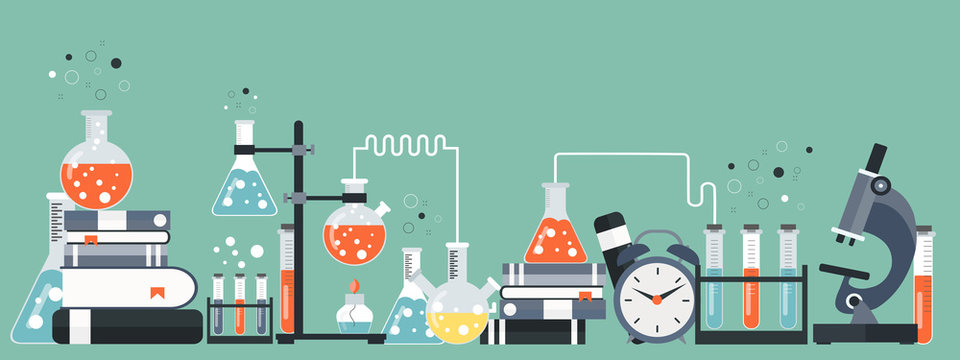 Laboratory equipment banner. Concept for science, medicine and knowledge. Flat vector illustration