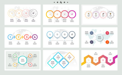 Set of infographic elements. Presentations, graphs, charts, diagrams with 4 steps, options. Vector templates.
