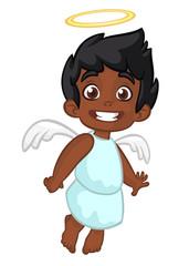 Vector cartoon illustration of Christmas angel with nimbus and wings. Afro-american or arab boy cartoon cupid