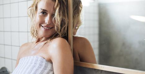 Portrait of Woman at Bathroom