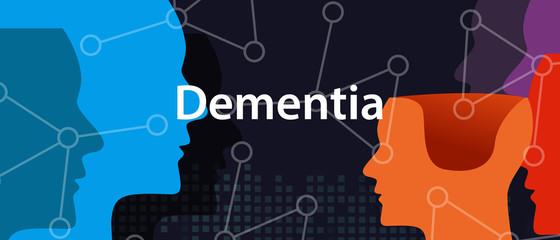 Dementia alzheimer brain neurology health problem head thinking concept Wall mural