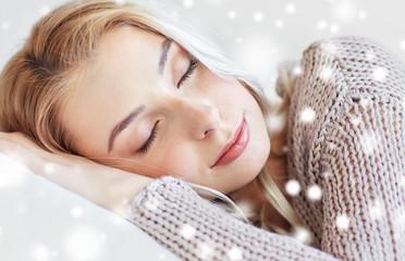 close up of woman or teenage girl sleeping