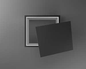 Black empty box on black background. Top view. Template for your presentation design, banner, brochure or poster. Vector illustration