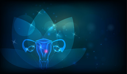 Female reproductive organs flower at the background. Fertility and reproductive system health care.