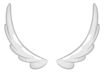 Hand drawn angel or bird wing. Outlined drawing element isolated on white background. Vector illustration.